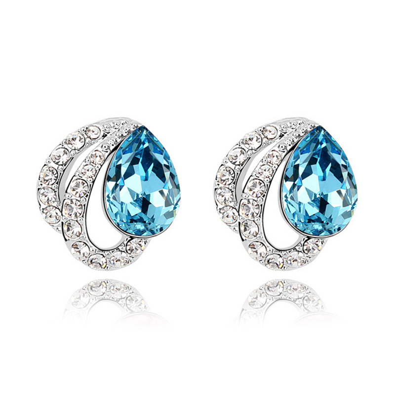2017 Earrings Zirconia for Women Stylish Blue Jewelry Stud Earrings For Women Trendy Romantic jewelry Costume jewelery Earrings