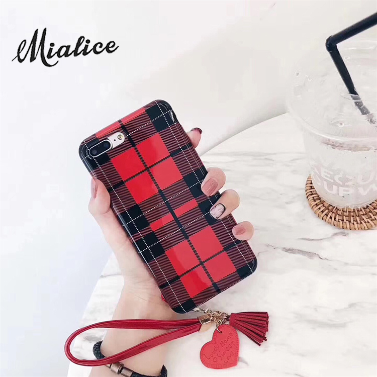 Fashion stripes tassel case for iphone X 7 7plus case glossy tpu case for iphone 6 6s 6plus 8 8plus love heart pendant