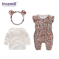 Fashion Ircomll Baby Girl Set Newborn Clothing Leopard Pprint Girls Clothes Sets TopS+Overalls+Headband Outfits Toddler Infant