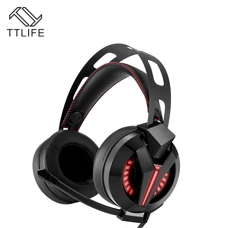 TTLIFE M180 Gaming Headset Stereo LED Lights Headphones with Mic Noise Reduction for PS4 PC Computer Phones each g1100 shake e sports gaming mic led light headset headphone casque with 7 1 heavy bass surround sound for pc gamer
