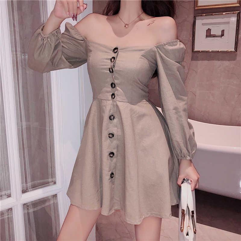 Bahar yaz elbisesi kadın kıyafetleri 2020 seksi kulübü kore Mini elbise kadınlar için açık omuzlu parti elbise bayanlar elbiseler Vestidos MY2380