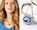 Moda Jóias Colar de Pingente de Pedra de Vidro Azul Chic Mulheres Ouro Partido Acessório