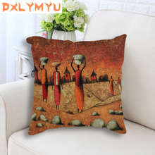 Linen Cotton Cushion Cover 45x45cm Pillow Cover Pillow Case African Style Oil Painting Printed Seat Cushion Home Decorative Sofa цена в Москве и Питере