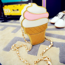 New Cute Cartoon Women Ice cream Cupcake Mini Bags PU Leather Small Chain Clutch Crossbody Girl Shoulder Messenger bag LL1168