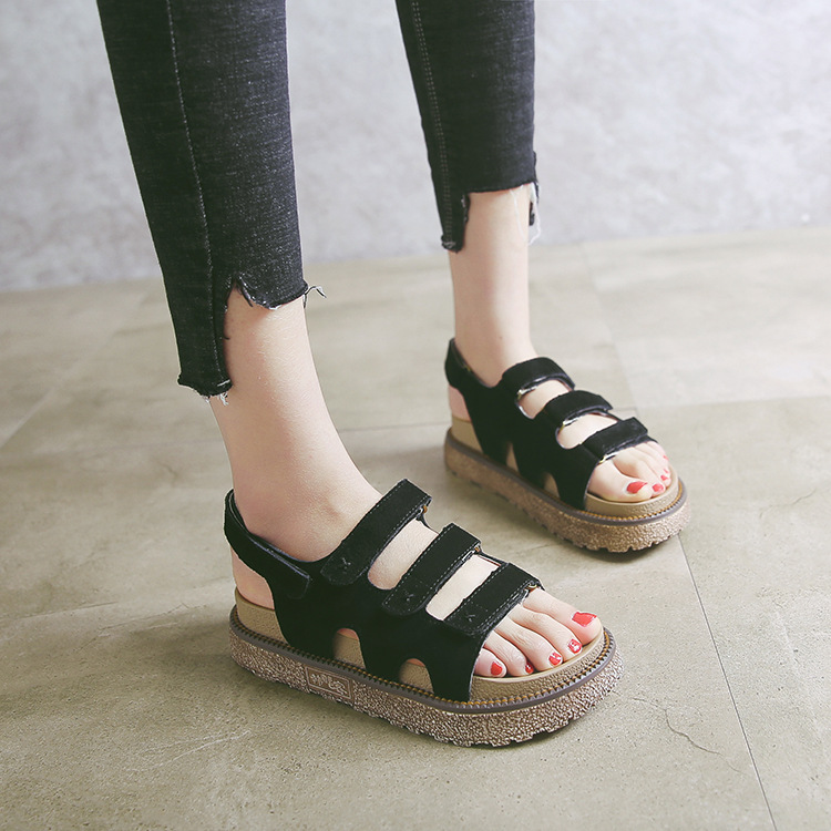 0740f819a 2018 Hot Sale New Summer Thick Bottom Ladies Roman Flat Sandals Fashion  Trend Summer Muffin Women Sandals-in Middle Heels from Shoes on  Aliexpress.com ...