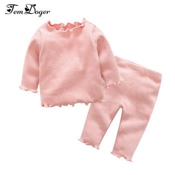 Tem Doger Baby Clothing Sets 2017 Autumn Winter Newborn Baby Boys Girls Clothes Infant Knitted Solid Tops Pants 2Pcs Outfits Set 5pcs set newborn infant baby suits boys girls kids clothes sets tops pants bibs hats girl clothing set for baby girls outfit