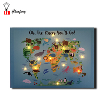 Lighted led canvas print Funny Cartoon World Map With Animals painting wall picture art home decor gift dropship
