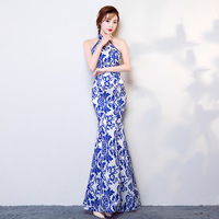 Nouveau 2017 Sans Manche D'été Mince Rétro Améliorée Cheongsam Chinois Robe Femmes Longue Section D'impression Bleu et Blanc Porcelaine