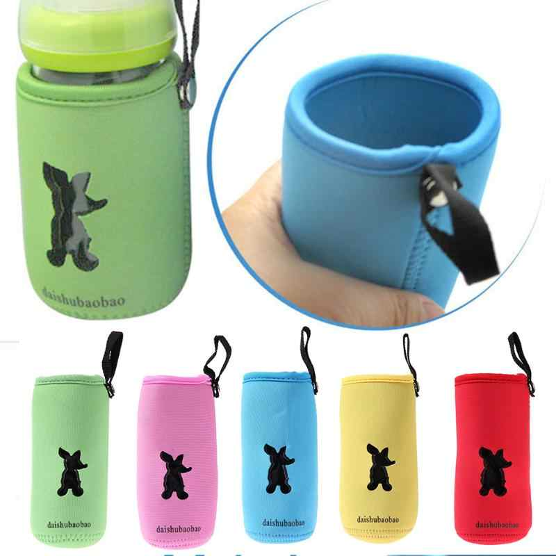 Lovley Wide Mouth Milk Bottle Insulation Bag with Hanging Belt Soft Cloth Hollow Cups Cover Feeding Bottle Thermos Holder Bag