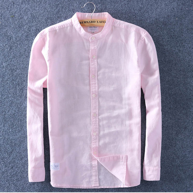 Schinteon Men Spring Summer Cotton Linen Shirt Slim Stand Collar Comfortable Undershirt Male Plus Size Top Quality Free Shipping 3