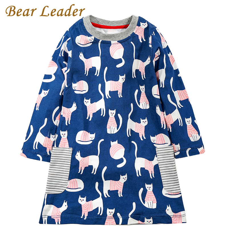 Bear Leader Girls Dress 2017 Brand Autumn Girls Clothes European and American Style Cats Printing Design Kids Dress For 3-7Years 100% real photo brand kids red heart sleeve dress american and european style hollow girls clothes baby girl clothes