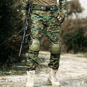 Image 3 - Taktische Hosen Cargo Hosen Männer Militär Knie Pad SWAT Armee Airsoft Camouflage Kleidung Hunter Bereich Arbeit Kampf Hosen Woodland