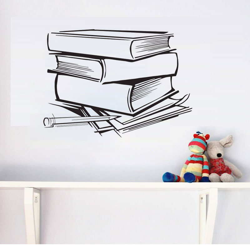 ZOOYOO Books Wall Sticker Home Decor Kids Children Room Decoration Reading Room Wall Decals Art Design Murals
