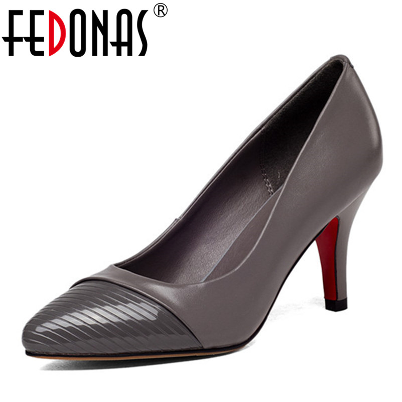 FEDONAS New Fashion Spring Classic Women Genuine Leather Office Pumps Thin High Heel Nude Office Wedding Shoes Woman Size 34-43 europe america style spring autumn women genuine leather thin high heel lace up low cut fashion denim shoes size 34 41 sxq0709