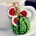 Новый зеленый арбуз мяч подвеска брелок сеть мода горный хрусталь безделушки металлический брелок брелок для женщин сумка подвески ювелирных изделий