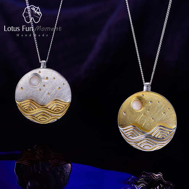 Lotus Fun Moment Real 925 Sterling Silver Handmade Fashion Jewelry The Moonlight Design Pendant without Chain Acessorios Women