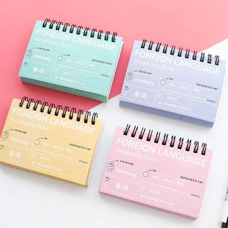 Канцелярские студент катушки английское слово книга флуоресцентный Язык обучения памяти Справочник business notebook 80 pags четыре цвета