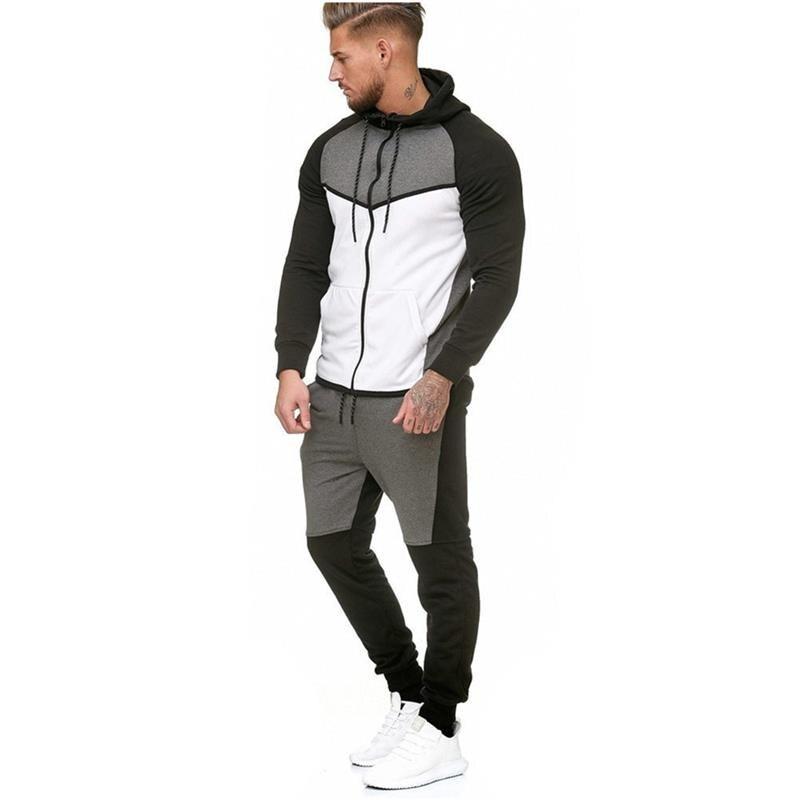 laatu vapaa ajan kenkiä houkutteleva hinta Sport Suit Male Running Gym Men Set Sportswear Tracksuit ...