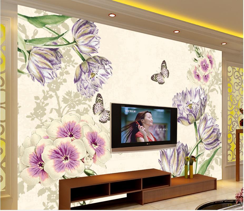 3d carta da parati per camera dipinta a mano tulipani for Carta da parati 3d fiori