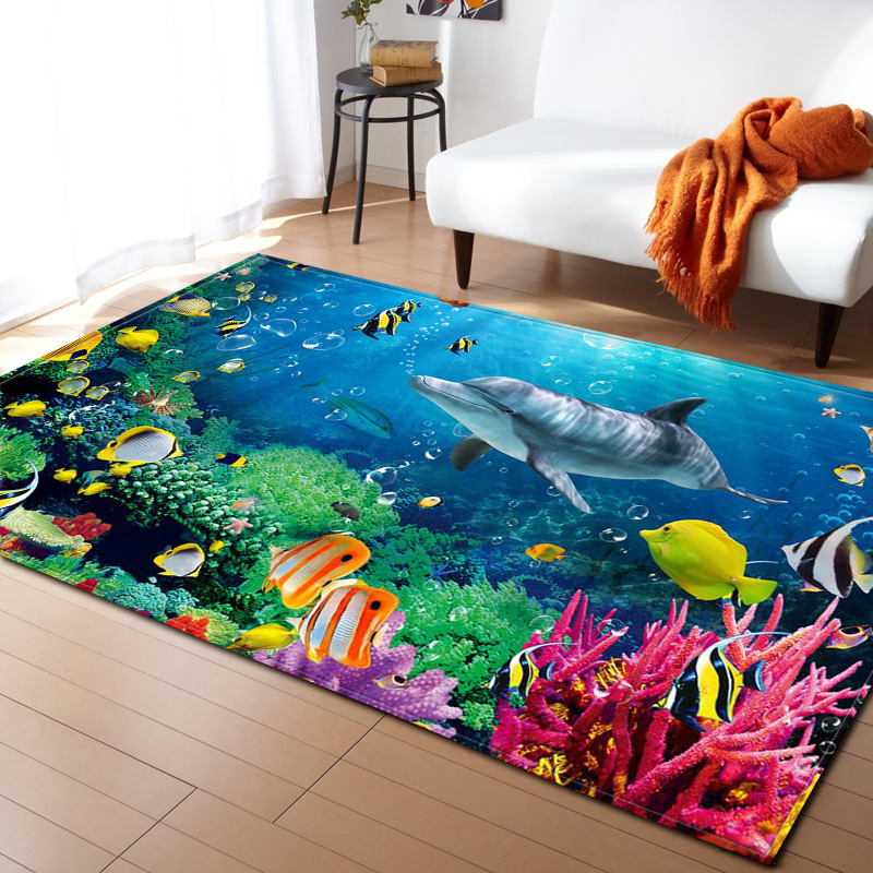 Carpet For Kids Bedroom Big Size 3D Dolphin/shark/fish Soft Floor Carpet Sea Ocean Living Room Floor Rugs Slip Resistant Mat L18