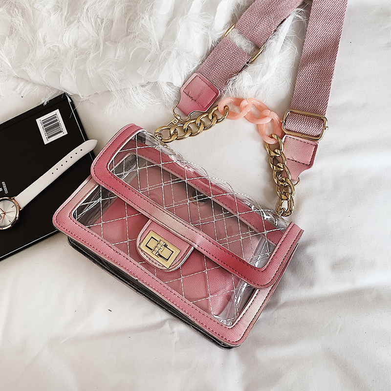 Designer Brand Pvc Small Satchels Ladies Clutch Transparent Tote Wide Strap Rainbow Pu Leather Chain Pink 2019 Purse Bolsas