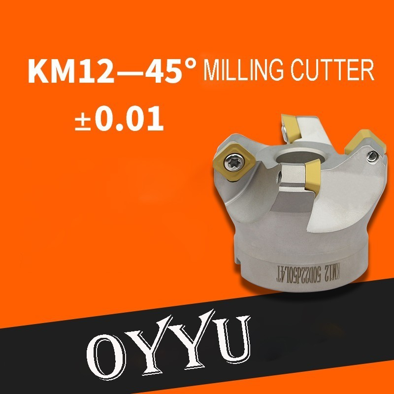 Oyu km45 grau concha fresa KM12-50 63 80 100 125 160 sekt1204 carboneto de tungstênio inserção km12 rosto moinho