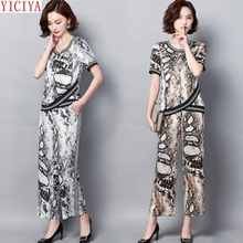 Snake 2 Pieces Set Woman Outfits Tracksuits for Women Plus Size Wide Pants Suits and Top 2019 Summer Co-ord Set 4xl 5xl Clothes
