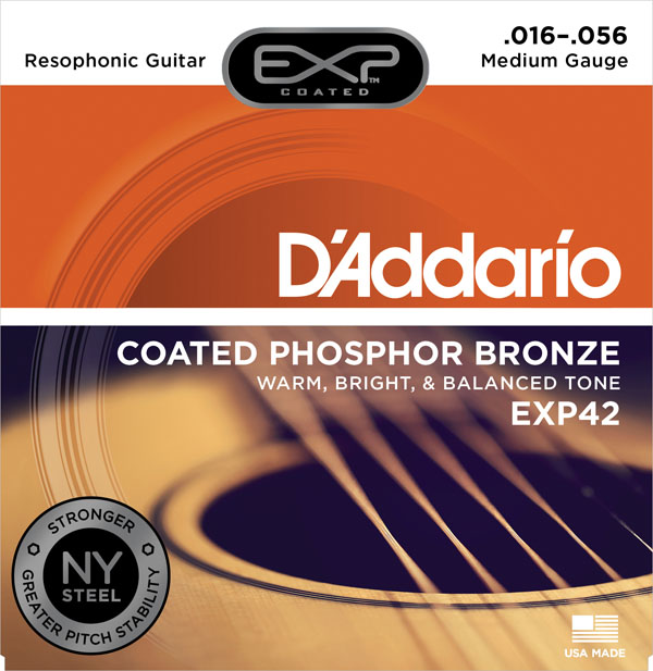 D'addario EXP42 Coated Phosphor Bronze, Resophonic, 16-56 i found you exp