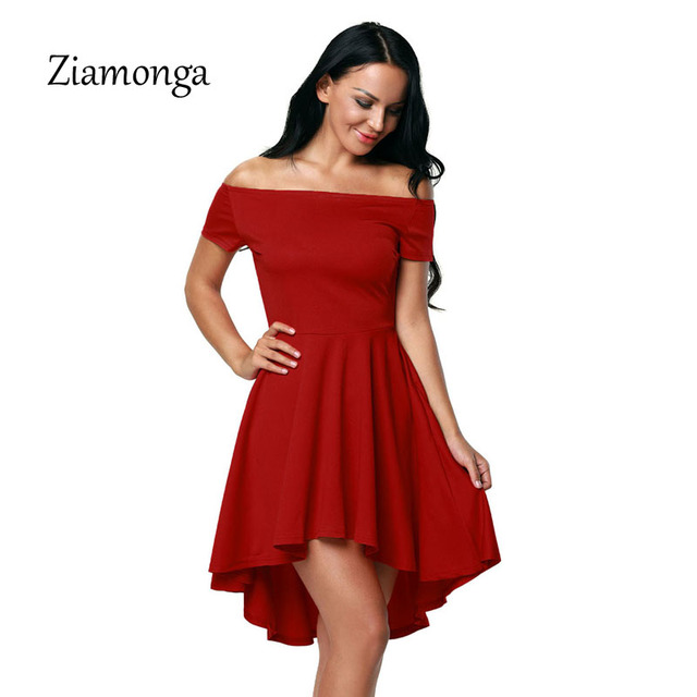 e3229ab33cc8 Ziamonga 2017 Autumn Fashion Women Plus Size Evening Party Dresses Off  Shoulder Short Sleeve High Low Skater Dress Sexy Vestidos