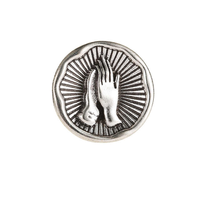 PIN dan Bros untuk Wanita Kreatif Vintage Logam Bulat Berkat Doa Tangan Bros Perhiasan Colar Pin Lencana Tombol Brocade