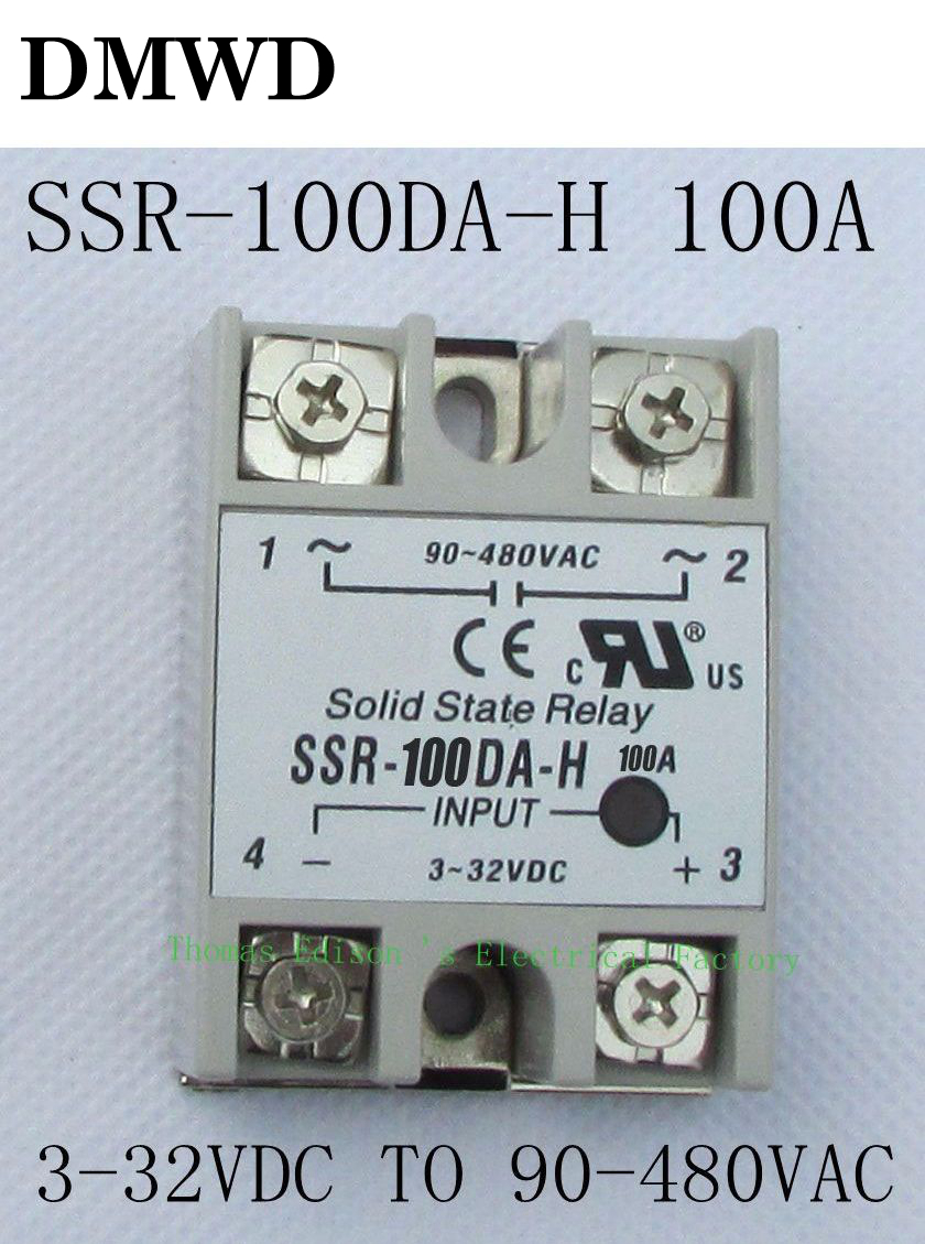 1pcs Solid State Relay Ssr 100da H 100a Dc To Ac For Resistance Regulator