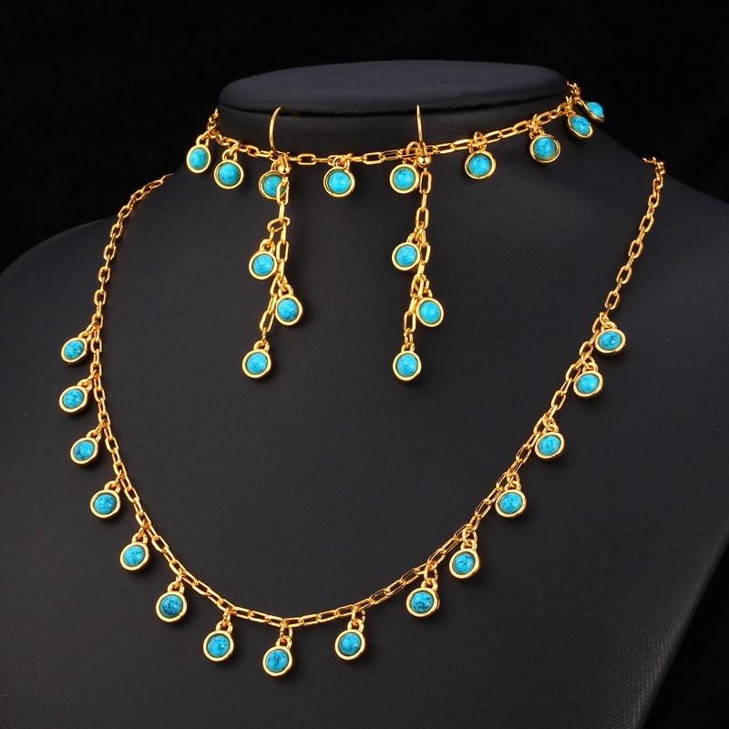 Brand new Kpop Blue Stone Necklaces Bracelet Long Drop Earrings Set For  TX42