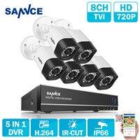 SANNCE 8CH 5in1 1080N AHD TVI CVI Analog IPC DVR 6pcs TVI 720P Camera IR CUT