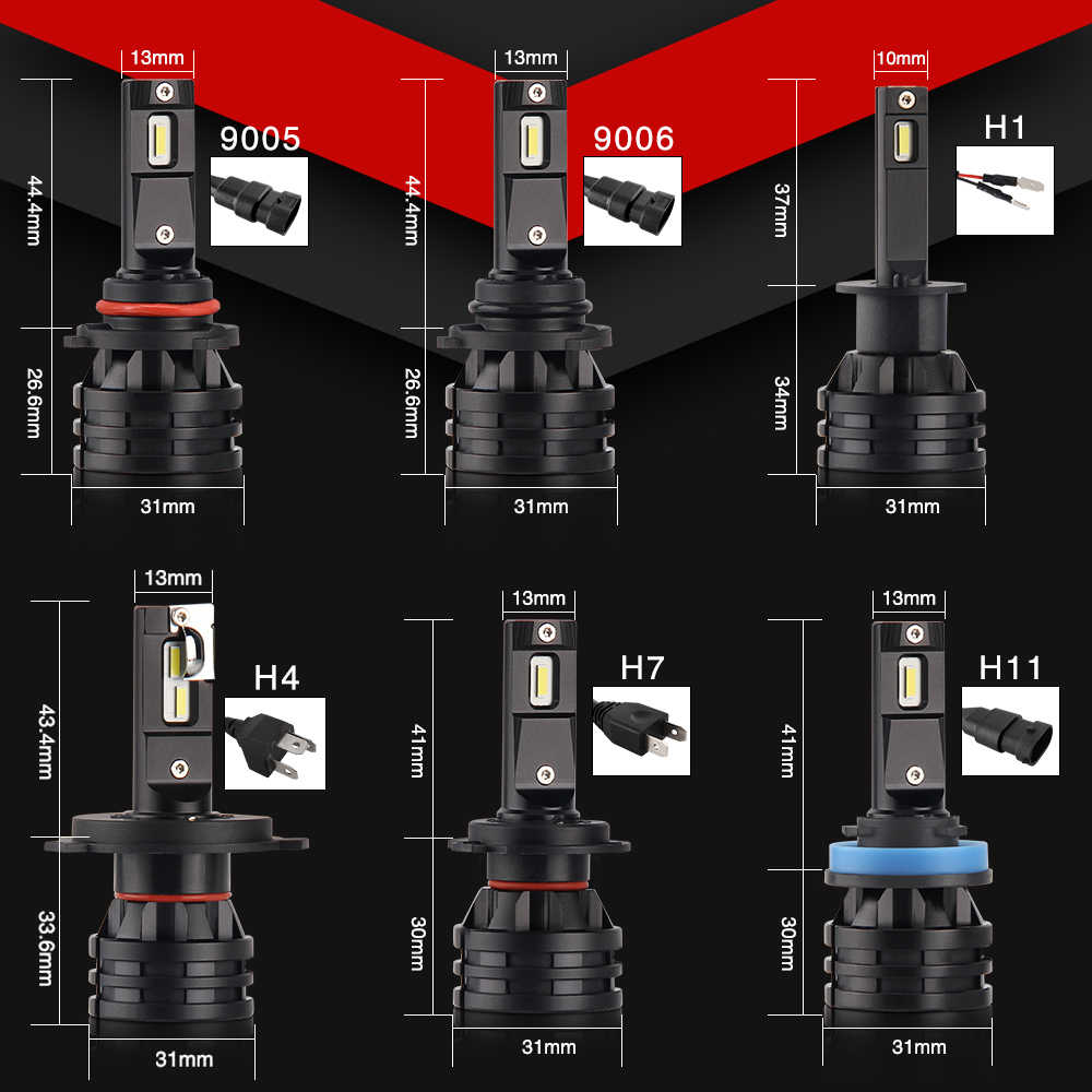 BraveWay Mini LED H1 Headlight Bulb Lamp H11 Fog Lamp Lighting Bulb 12V Farol Auto H4 LED Light H7 H8 H9 H11 HB3 HB4 9005 9006