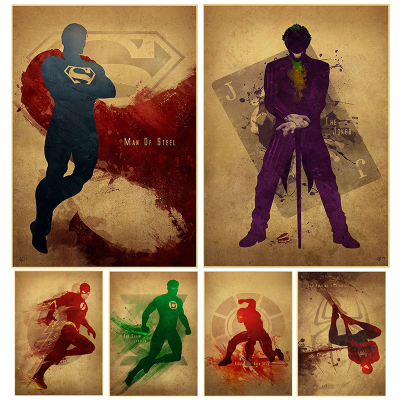 vintage Hollywood Movie Poster Adornment Picture Iron Man Design Drawing  Nostalgic Retro Kraft Paper Poster Decorative Painting
