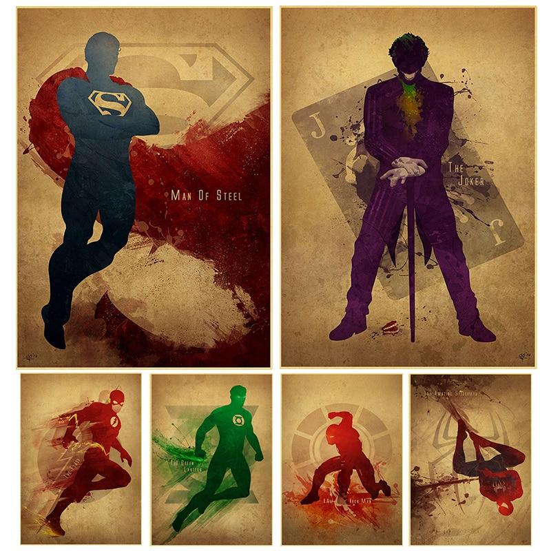 wall-art-home-decor-avengers-font-b-marvel-b-font-comics-superhero-superman-green-arrow-man-flash-poster-retro-poster-painting
