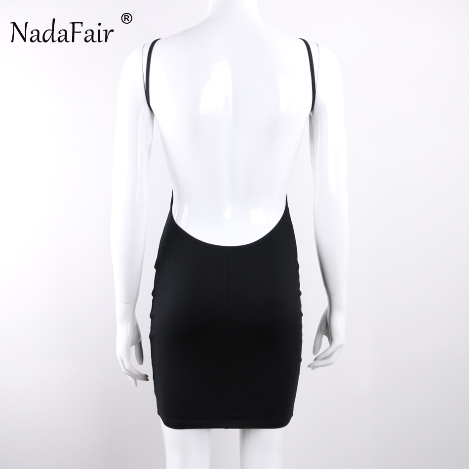 Nadafair 95% Cotton Spaghetti Strap Black Sexy Club Backless Bodycon Dress Women Summer Beach Casual Mini Dress 2