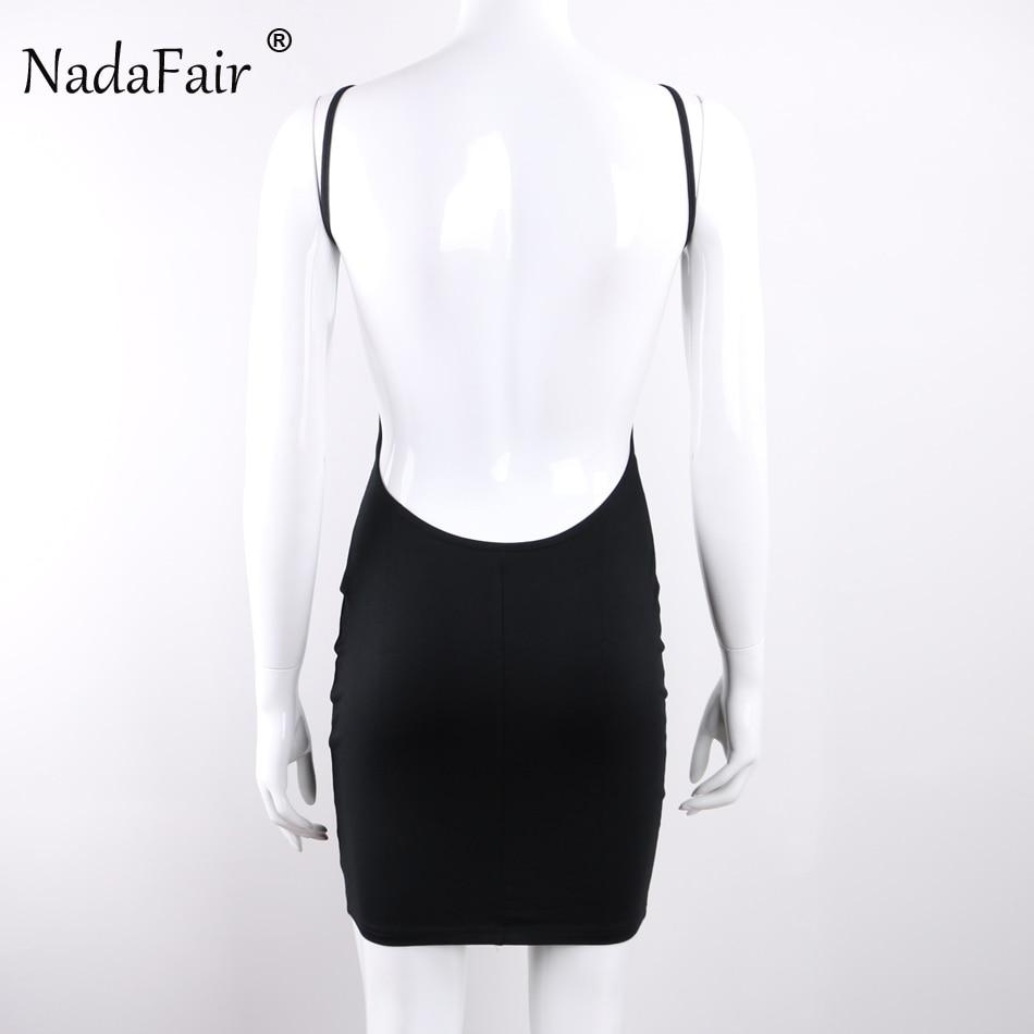 Nadafair 95% Cotton Spaghetti Strap Black Sexy Club Backless Bodycon Dress Women Summer Beach Casual Mini Dress 2