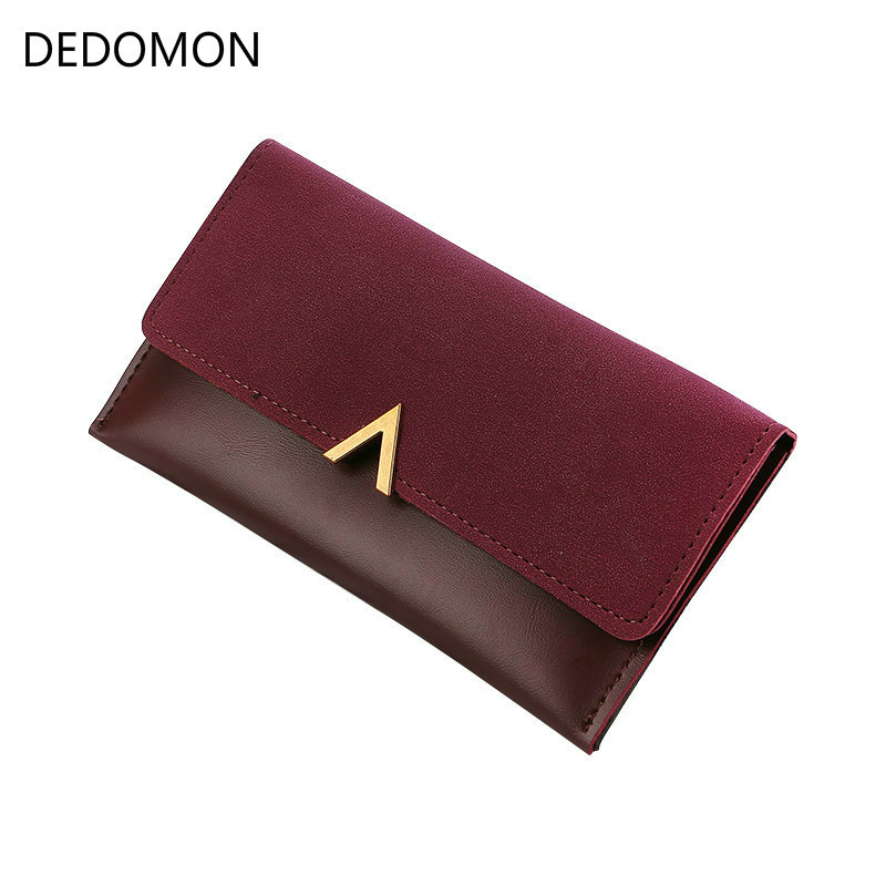 2019 New Leather Women Wallets Fashion Three Fold Design Women's Long Purse Patchwork Female Clutch Wallet Card Holder