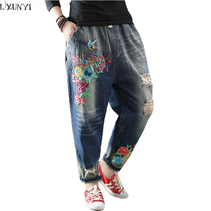 LXUNYI National Style Heavy Embroidered jeans Women Drawstring Waist Vintage Loose Thin Hole jeans Haren Pants Denim Trousers 2017 spring new embroidered jeans color embroidered national wind low waist jeans trousers