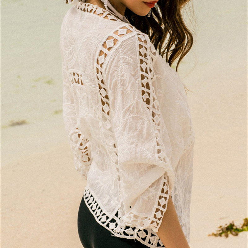 Drop ship Beach Cover Ups Solid Bikini Cover Up Swimwear Women Beach Suit Cover Ups Knitted Design Hollow Out Beachwear