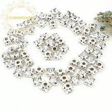 3mm 4mm 5mm 6mm 7mm 8mm White Diamond shape Glass Crystal rhinestones with silvery claw Diy wedding dress accessories