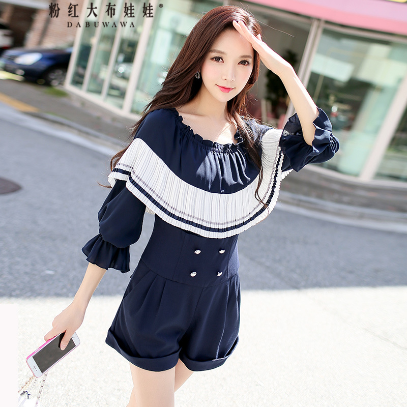 original 2018 brand spring summer new slash neck elegant ruffled OL navy blue high waist ladies playsuits women wholesale