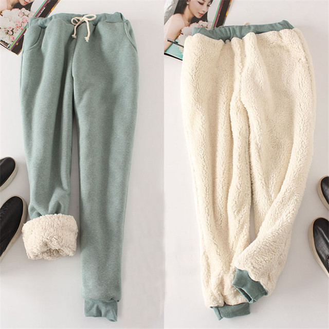 Autumn Winter Women Long Trousers Warm Thick Velvet Harem Pants Female Elastic Waist Sweatpants Fleece Cotton Casual Pant AB658