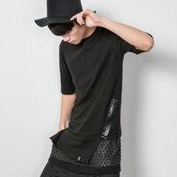 Good Quality 2016 New Summer Cool Korean Hip Hop T Shirt With Zipper Men Half Sleeve