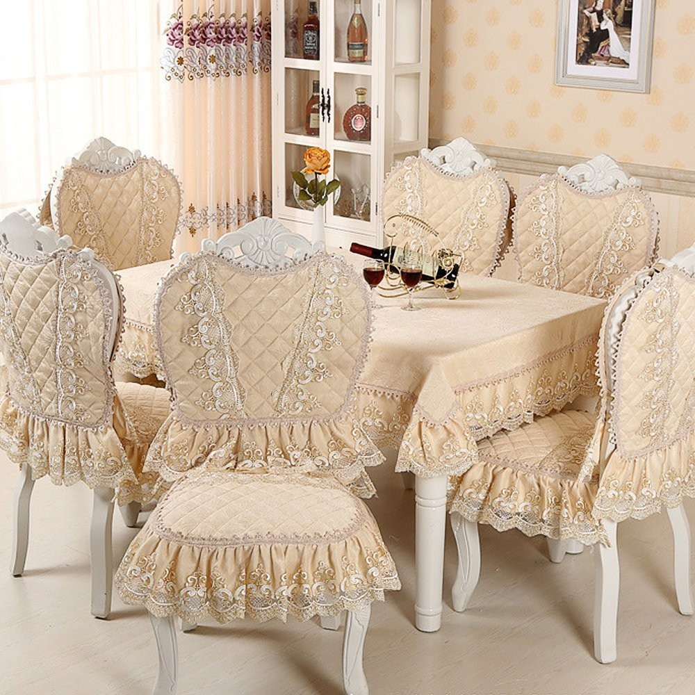Damask Chair Us 23 91 8 Off Chair Cover Set Cotton Jacquard Floral Damask Chair Back Cover Lace Cushion Dinning Room Home Decoration European Classic Style In
