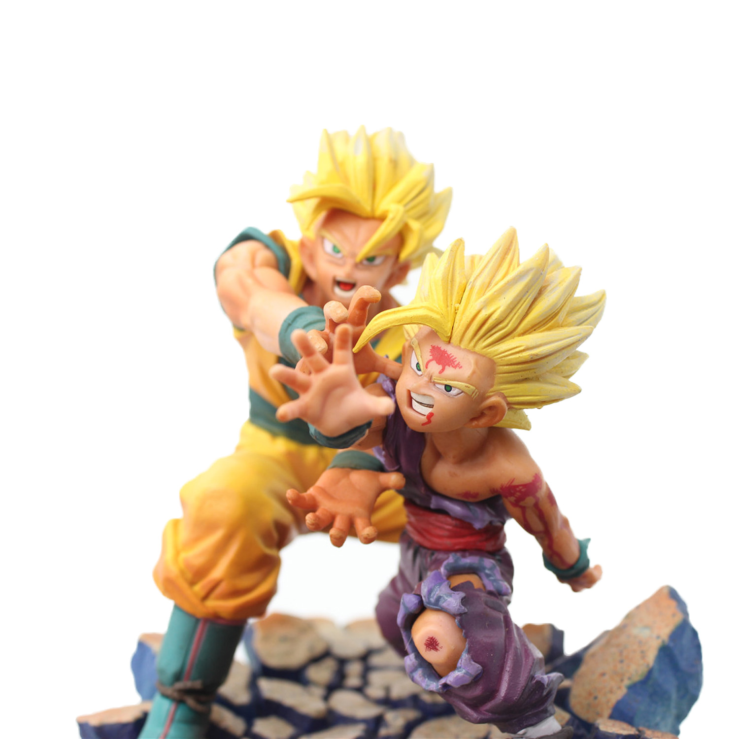 ФОТО Chanycore 18CM Dragon Ball Z Son Gohan Son Goku Gokou Father and Son Attack Wave PVC Action Figure Toys Gifts
