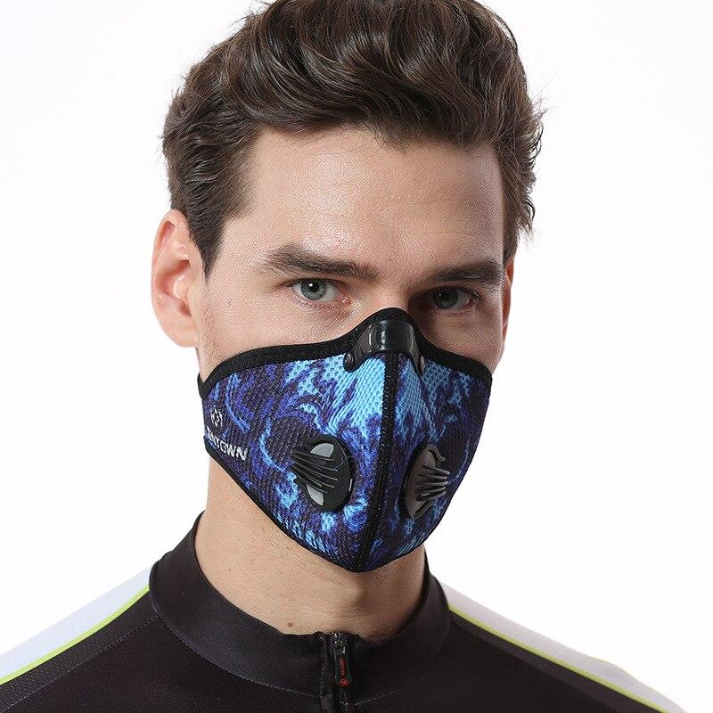 Donne Uomini Sport Ciclismo Maschere Pm2.5 alta qualità Filtri a Carbone Maschera Maschera di Polvere di Smog Protettiva Mezzo Volto Maschera In Neoprene