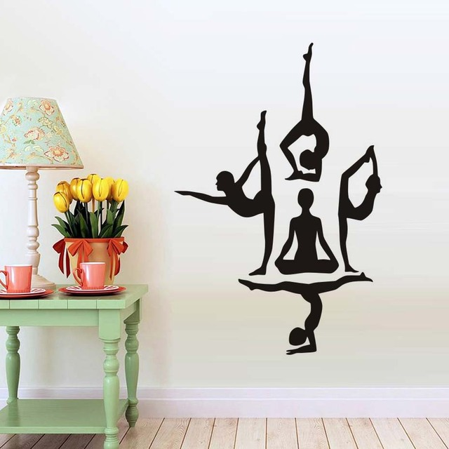 yoga wall decals dance training school use wall stickers letter