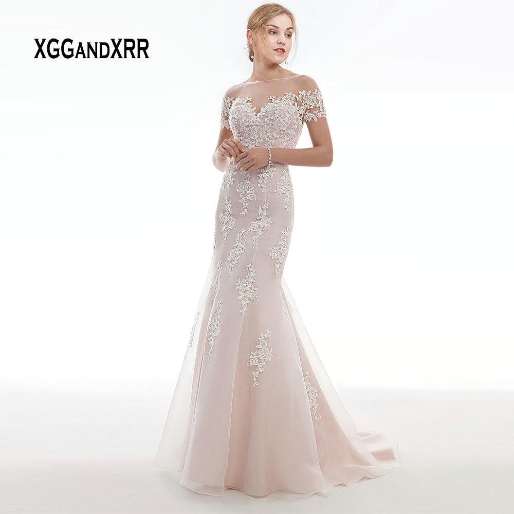Elegant Pink Wedding Dress 2019 Mermaid Bride Dress Short